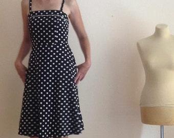Vintage Polka Dot Sundress Knee Length A Line Full M Medium