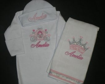 Personalized Princess Carriage Infant Gown and Cap Set Layette Baby Gift