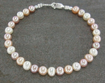 Multi-Color Natural Pearl Bracelet with Sterling Silver Lobster Clasp in Small to Extra Large Sizes