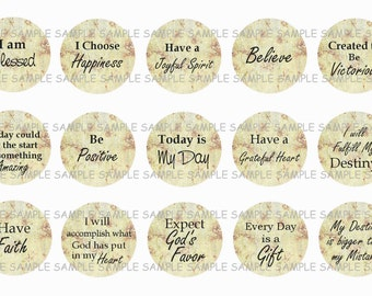 INSTANT DOWNLOAD...Religious Inspired...... Inspirational Quotes...1 Inch Circle Image Collage for Bottle Caps...Buy 3 get 1