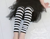 Black and White Striped Girls Leg Warmers