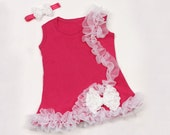 Pink and White Baby Dress Sale Free Headband and Free Shipping