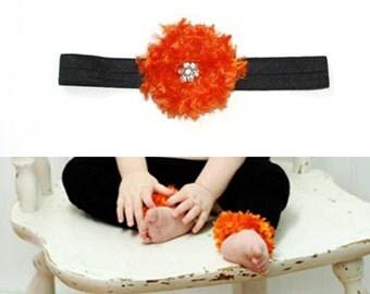 Black and Orange Halloween Baby Leg Warmers and Headband