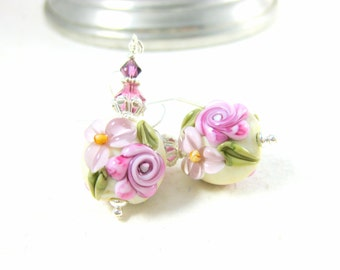 RESERVED  Pastel Floral Earrings Romantic Jewelry Pink Lavender Purple Lampwork Earrings Pink Rose Jewelry Nature Inspired Cottage Chic