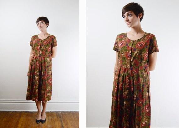 1950s Floral Day Dress - M/L