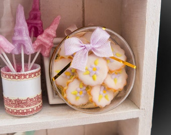 Lilac Floral Garden Cookies Gift Box - Miniature Food in 12th Scale