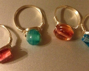 Choose your color Wire-wrapped Glass Bead Ring