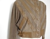 1980s French brown leather and green suede jacket - batwings - medium M
