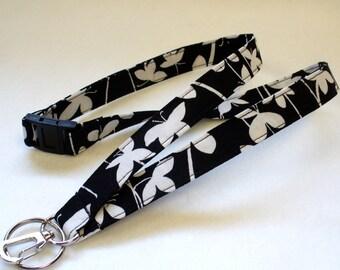 Black White Floral Fabric Lanyard Breakaway Lanyard Designer ID Badge Holder Clip Key Ring Fob MTO