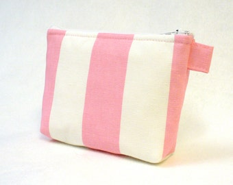 CLEARANCE SALE Baby Pink White Circus Stripe Cosmetic Bag Zipper Pouch Makeup Bag Bridesmaid Gift Gadget Pouch  MTO
