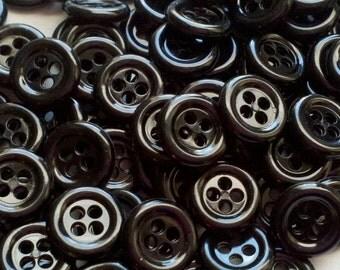 Black Buttons - 7/16 inch - 12mm - YOU PICK QUANTITY - 25 thru 336