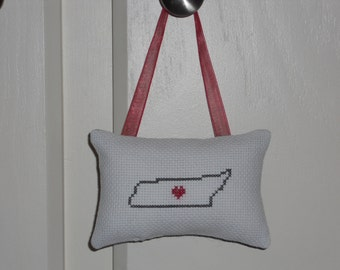 Tennessee Counted Cross Stitch Hanging Pillow