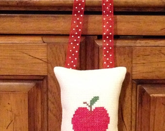 Apple Counted Cross Stitch Hanging Pillow