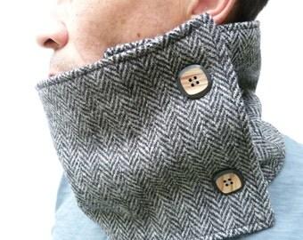Men's Harris Tweed Neckwarmer -Black/Grey Herringbone, circle scarf, scarf, neckwarmer