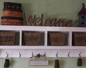 "Wood Cubby Wall Shelf with 4 Cubby Holes 58"" wide Wall Shelf Coat Rack Storage Shelf Organizer"