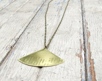 Falling Leaves - Hand forged Brass Necklace - Brass Fan Leaf Necklace - Artisan Tangleweeds Jewelry