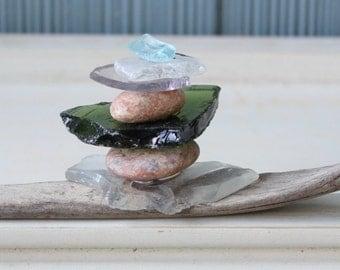 Fine Art Sculpture - Unique Coastal Decor With Driftwood & Sea Glass, One of a Kind