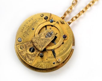 Antique Late 1800's Gold Pocket Watch Movement Steampunk Necklace