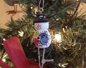 Tiny Norwegian Rosemaled Snowman ornament
