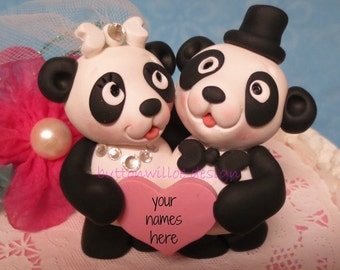Whimsical Panda Bear Wedding Cake Topper Holding Personalized Heart