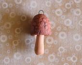 Cute Little Handmade Red Stoneware MUSHROOM Pendant
