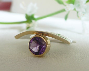 Amethyst, Silver and 18 karat Gold Modern Organic Ring