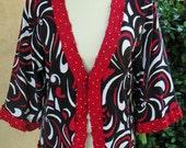 Women's Upcycled Large Cardigan Sweater- Swirl