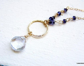 Iolite necklace ,   Water sapphire Necklace , September  Birthstone Necklace , Beaded Drop Necklace , Blue Necklace
