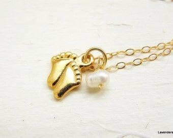 Baby Feet Necklace , Gold Baby Feet Tiny  Charm , Pearl , Gold Fill , Modern , New Mom Jewelry, Birth Jewelry