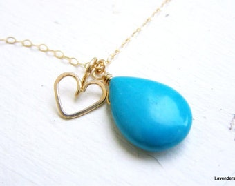 Turquoise Necklace , Gold Heart Necklace , Howlite Turquoise Drop Gold Necklace , Everyday Jewelry