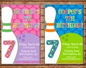 Boy or Girl Bowling Alley Bowl Ball Pin Party Birthday Invitation - DIGITAL FILE