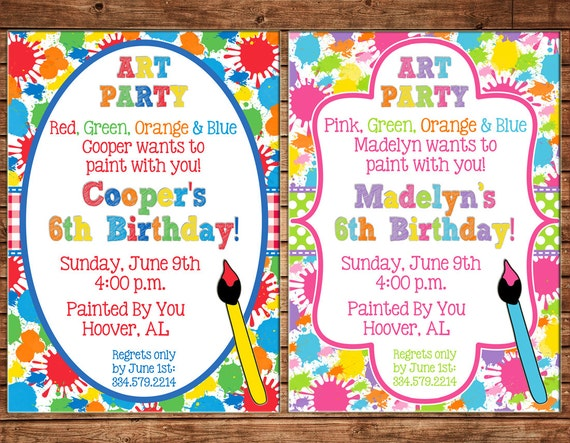 Craft Party Invitation Wording with beautiful invitations layout