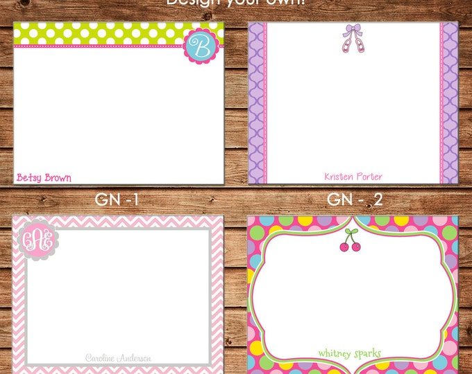 Personalized Girl Flat Notes Notecards Stationery with Envelopes - Design your own - Choose ONE DESIGN