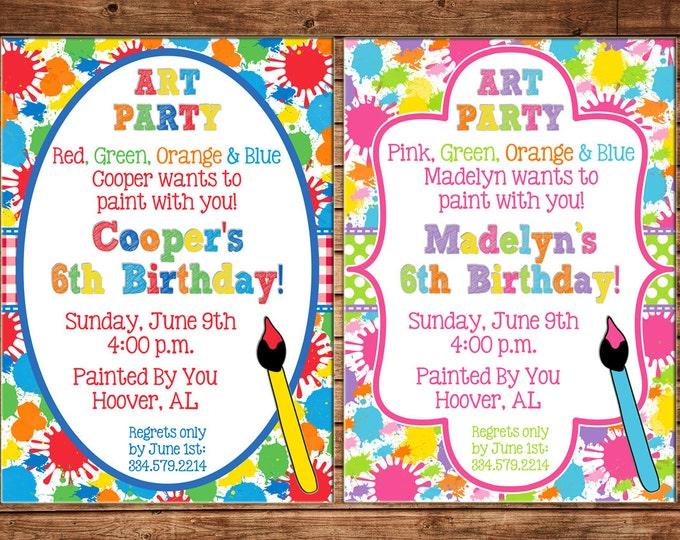 Boy or Girl Paint Pottery Craft Art Artist Birthday Invitation - DIGITAL FILE
