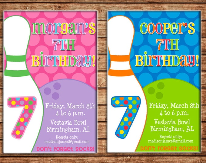 Boy or Girl Invitation Bowling Birthday Party - Can personalize colors /wording - Printable File or Printed Cards
