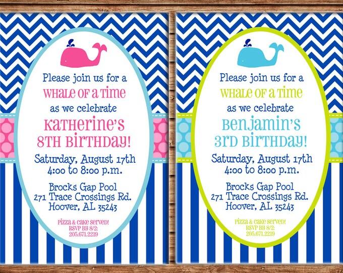 Girl or Boy Whale Preppy Chevron Polka Dots Stripes Baby Shower Birthday Invitation - DIGITAL FILE