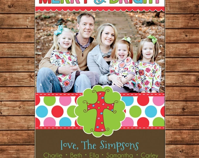 Photo Picture Christmas Holiday Card Merry & Bright Multi Polka Dot with Cross - Digital File