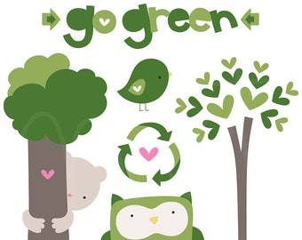 Go Green Digital Clipart Clip Art Illustrations - instant download - limited commercial use ok