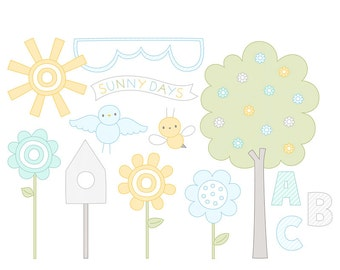 Sunny Days Digital Clipart Clip Art Illustrations - instant download - limited commercial use ok