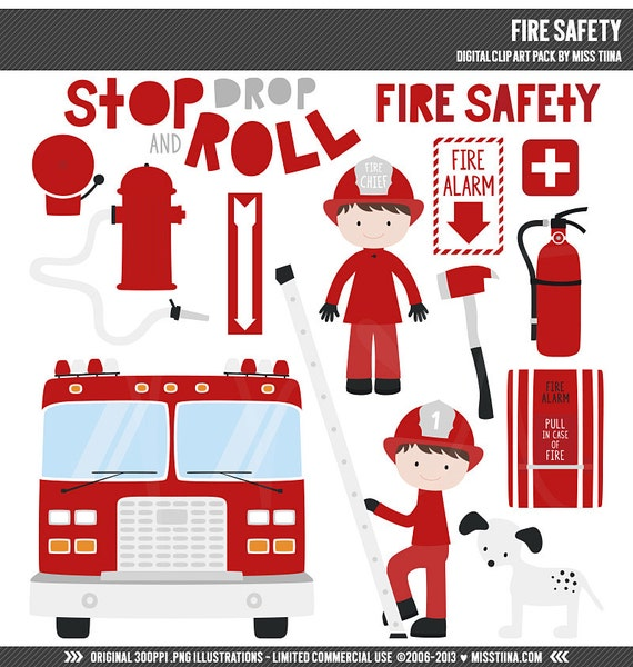 Fire Safety Digital Clipart Clip Art Illustrations ...