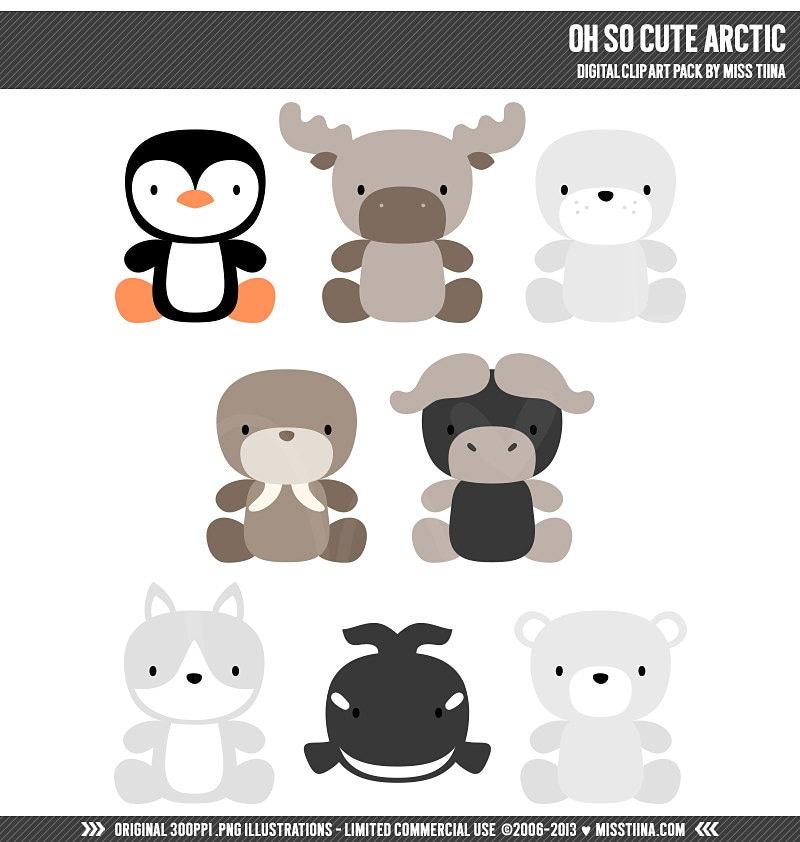 Oh So Cute Arctic Digital Clipart Clip Art Illustrations