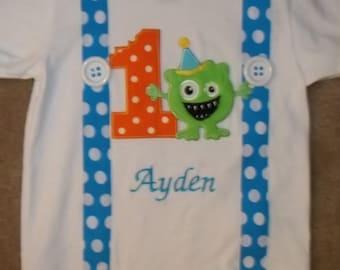 Monster Birthday Bash Suspender Shirt