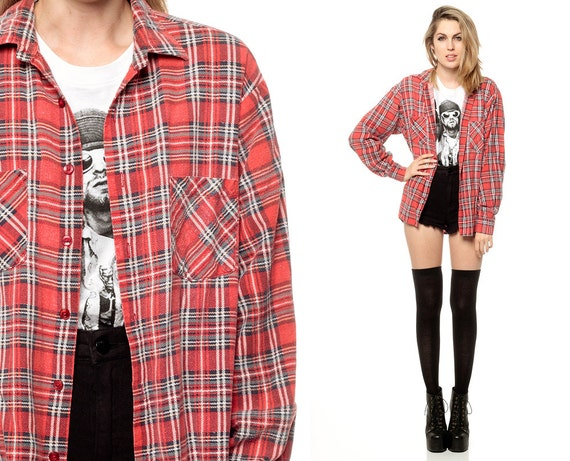 Red plaid shirt 90s flannel checkered grunge 1990s lumberjack for Oversized red plaid shirt