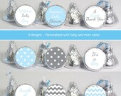 baby shower favors (No.k25B) boy blue gray polka dots chevron candy stickers