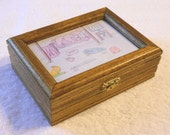 Wooden Memory Box with Glass Top Photo Area - Style B