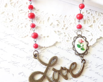 Love Is In The Air - Love Charm Beaded Necklace - Valentines Day