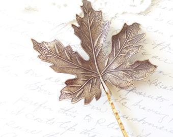 Ox Brass Leaf Hair Pin - Bobby Pin - Maple Leaf - Woodland Collection - Whimsical - Nature - Bridal