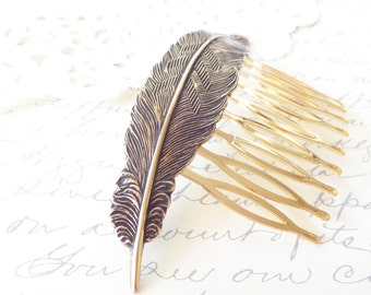 Golden Ox Brass Feather Hair Comb - Antique Ox Brass Feather Comb - Woodland Hair Accessory - Whimsy - Bridal Feather Hair Comb