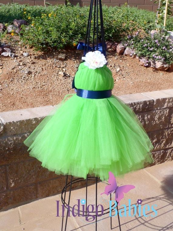Tutu Dresses, Flower Girl Dress, Tutu Dress, Lime Green Tulle, Navy Blue Ribbon, Flower Girl Dresses, Ivory Flower, Portrait Dress, Wedding