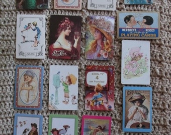 Lot/17 Pretty Ladies, Pepsi and Dr. Pepper Advertising, Hersey Kiss, Kids - Playing Card Swap Lot - 1960's-1970's